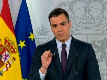 Pedro Sánchez, durante su comparecencia de este sábado