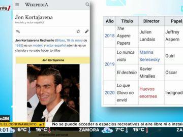 """Así han troleado los usuarios de Wikipedia a Jon Kortajarena por su polémica con Glovo: """"es un clasista y no sabe hacer tortillas"""""""