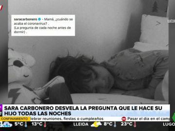 """Sara Carbonero desvela la tierna pregunta sobre el coronavirus que le formula su hijo """"todas las noches antes de irse a dormir"""""""