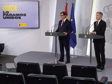El ministro de Sanidad, Salvador Illa, y el ministro de Interior, Fernando Grande-Marlaska