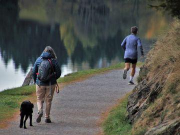 Una mujer pasea con su perro mientras un hombre corre en un parque
