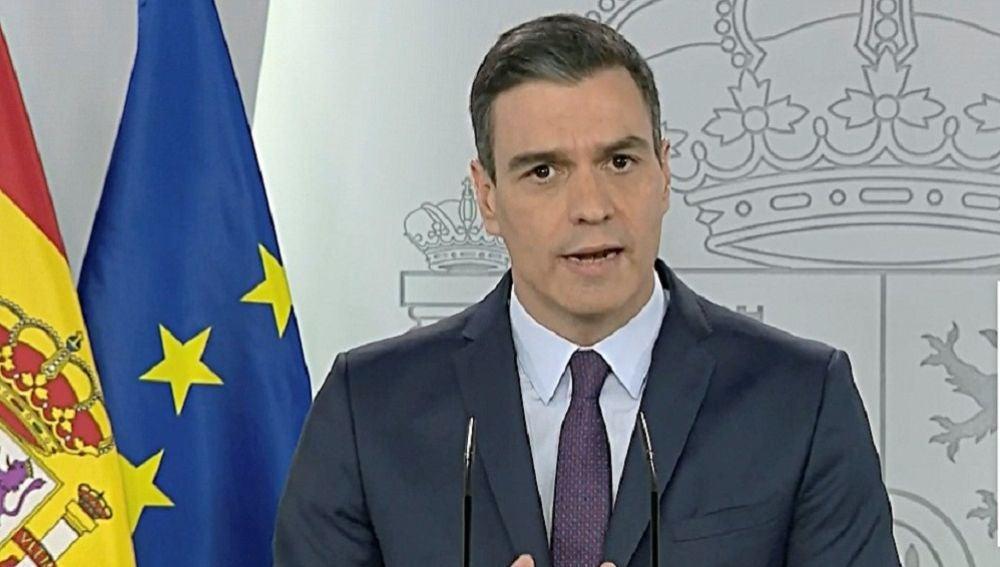 Pedro Sánchez en rueda de prensa tras la videoconferencia con el comité técnico del coronavirus