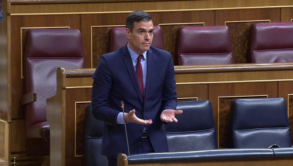 El presidente del Gobierno, Pedro Sánchez, interviene en el Congreso