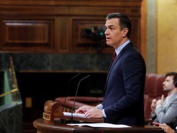 El presidente del Gobierno, Pedro Sánchez, durante su intervención en del debate, este miércoles en el Congreso.