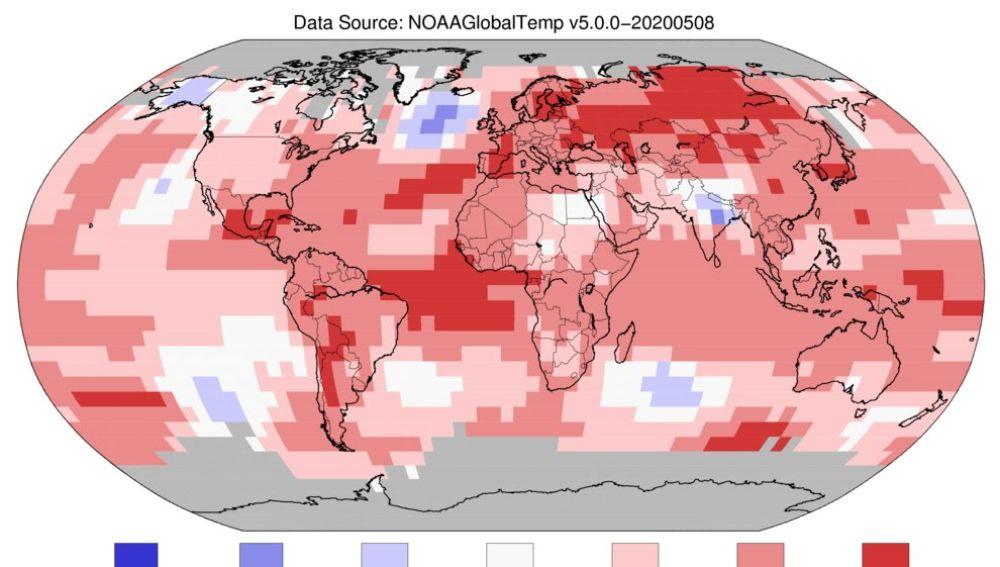 Gráfico sobre las zonas más cálidas de la Tierra