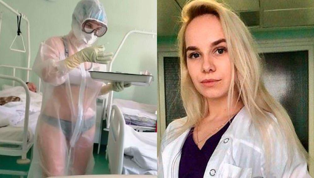 Ofrecen trabajo de modelo de lencería a la enfermera rusa que sólo llevaba ropa interior debajo de su EPI