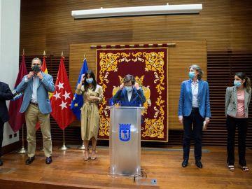 Rueda de prensa tras la reunión de portavoces del Ayuntamiento de Madrid