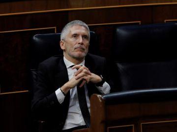 El ministro del interior, Fernando Grande Marlaska, durante la sesión de control al Ejecutivo