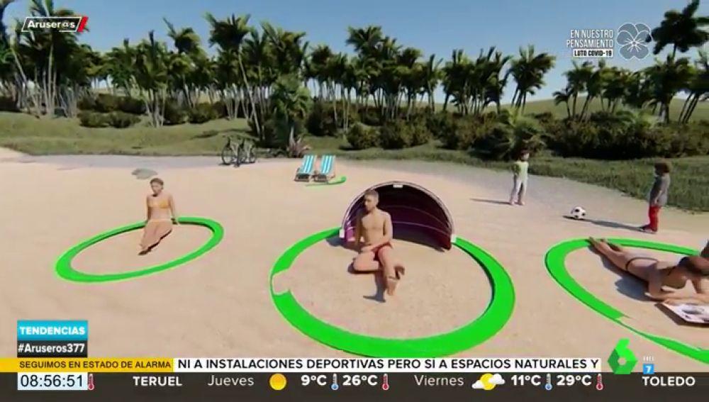 Un anillo playero, el invento 'made in Spain' para mantener la distancia de seguridad en la playa
