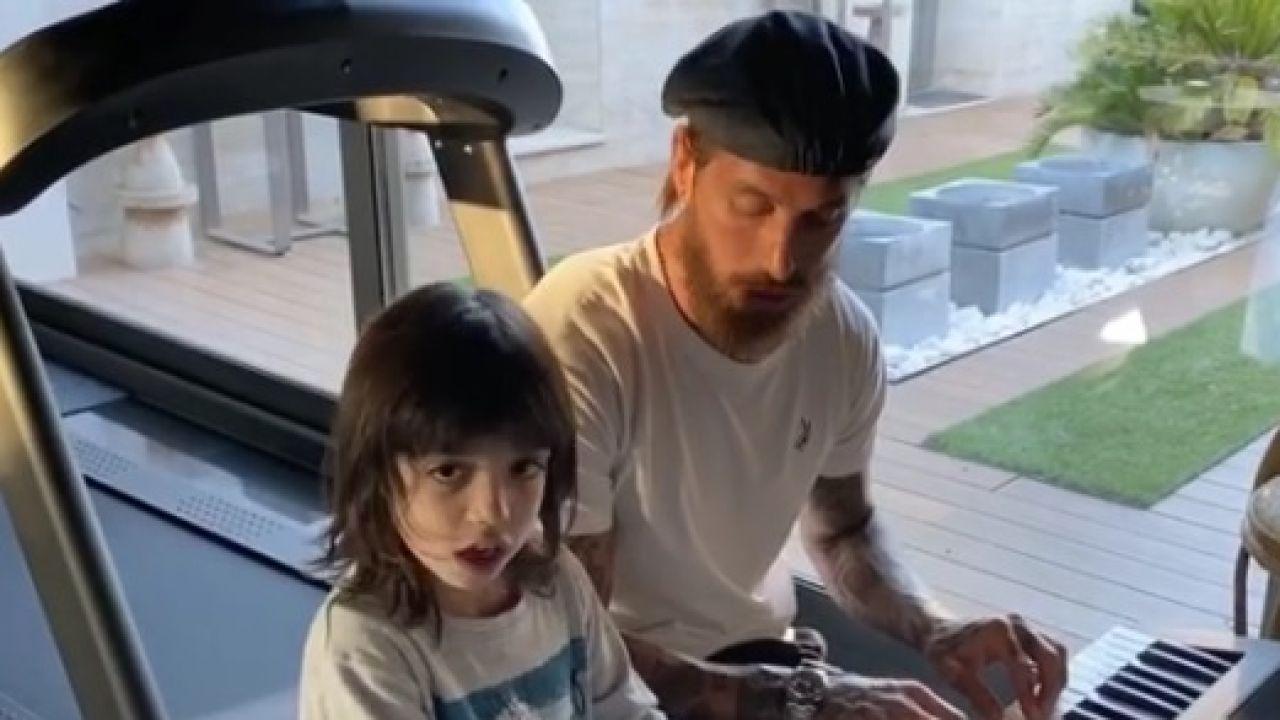 Sergio Ramos y su hijo mayor, Sergio.