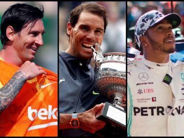 Lionel Messi, Rafa Nadal y Lewis Hamilton