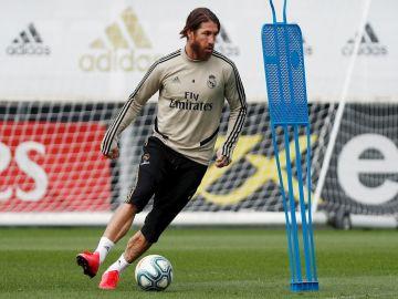 Sergio Ramos, en un entrenamiento