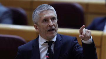 El ministro del Interior, Fernando Grande-Marlaska, durante la sesión del control al Gobierno