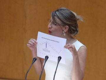 La ministra de Trabajo, Yolanda Díaz, interviene durante la sesión del control al Gobierno