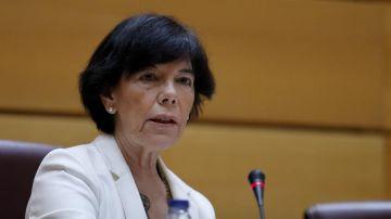 La ministra de Educación y Formación Profesional, Isabel Celaá, al inicio de su comparecencia