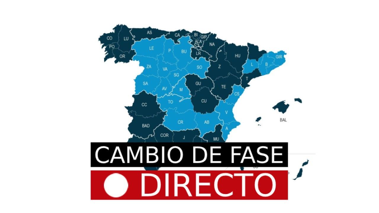 Cambio de fase por desescalada de coronavirus en España, hoy | Fase 1, 2 y 3, última hora en directo