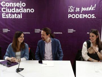 Imagen de archivo de Ione Belarra, Pablo Iglesias e Irene Montero