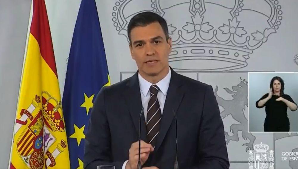 Pedro Sánchez, durante su comparecencia