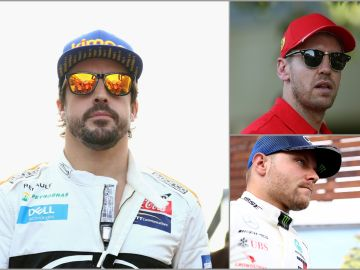 Fernando Alonso, Sebastian Vettel y Valtteri Bottas