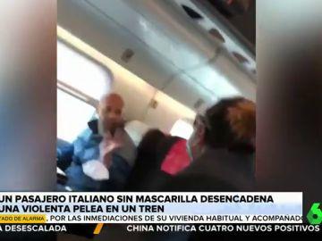 La violenta pelea verbal en un tren por la negativa de un pasajero a ponerse la mascarilla