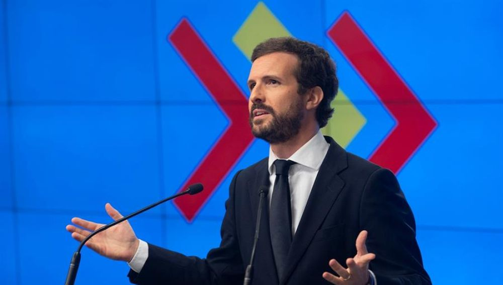 El presidente del PP, Pablo Casado, este lunes en Madrid, durante su intervención ante la Junta Directiva Nacional del partido