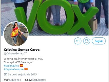 La cabecera del perfil de Twitter de Cristina Gómez Carva, edil de Vox en Galapagar.