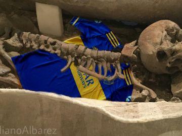 Esqueleto de Boca en el Bernabéu