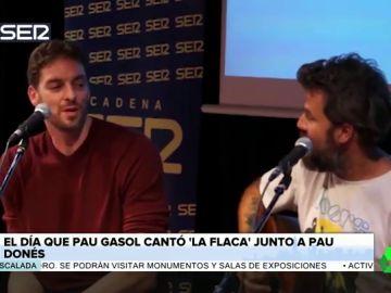 El día que Pau Gasol cantó junto a Pau Donés su tema de Jarabe de Palo 'La flaca'