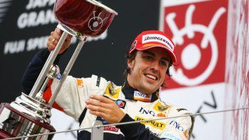 Fernando Alonso, tras ganar el GP de Japón 2008