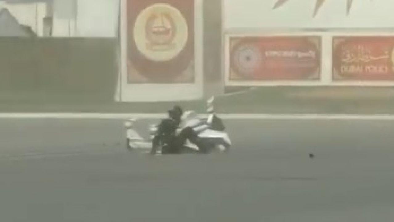 Accidente moto voladora.
