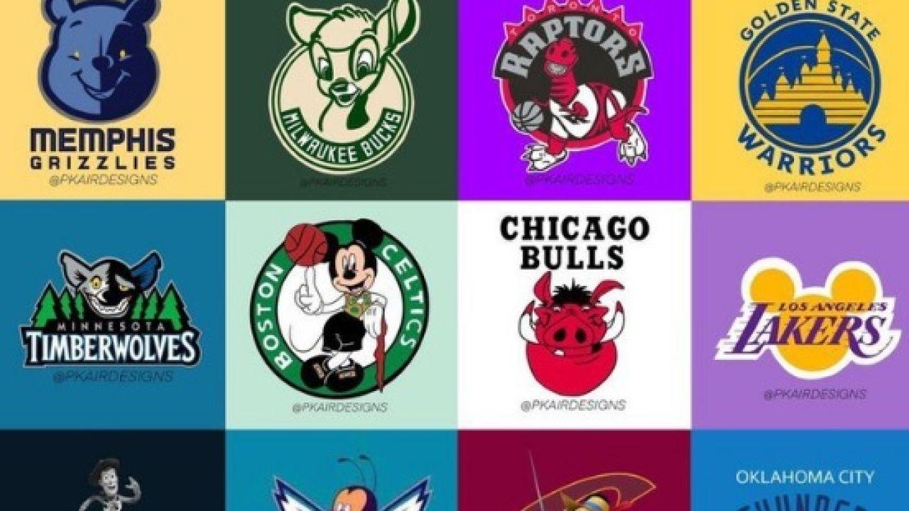 Escudos de la NBA con personajes Disney.