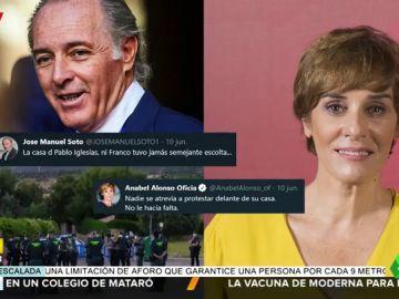 La respuesta de Anabel Alonso a José Manuel Soto tras comparar a Pablo Iglesias con Franco