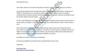 Mail enviado desde la Gerencia de Atención Primaria de Madrid