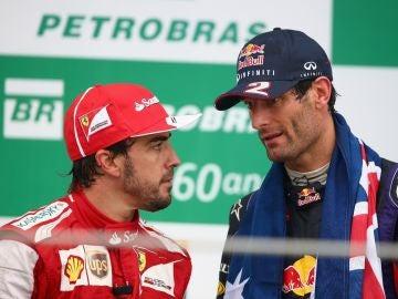 Fernando Alonso, con Mark Webber