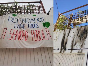 Pancarta incendiada y estado en el que quedó el exterior del porche tras el fuego.