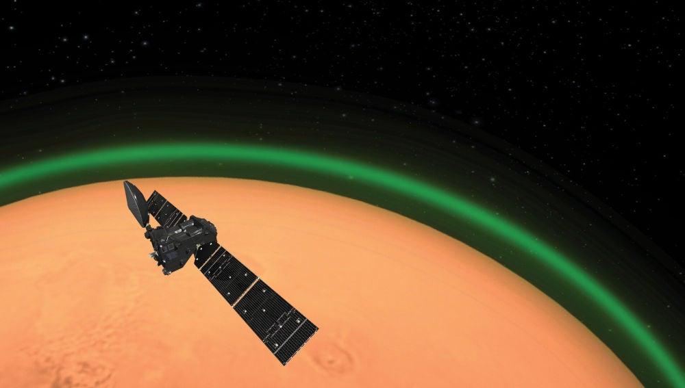 Detectado un resplandor verde en el planeta rojo