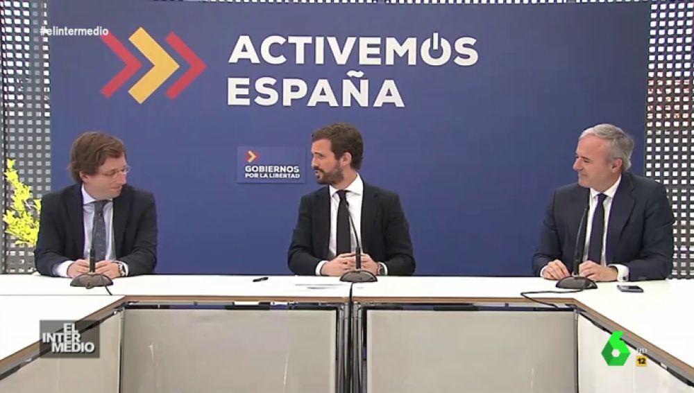 """Vídeo manipulado - Pablo Casado presenta a las """"grandes tonadilleras"""" del PP: Martínez-Almeida y Azcón"""