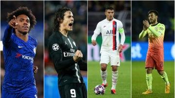 Willian, Edinson Cavani, Thiago Silva y David Silva