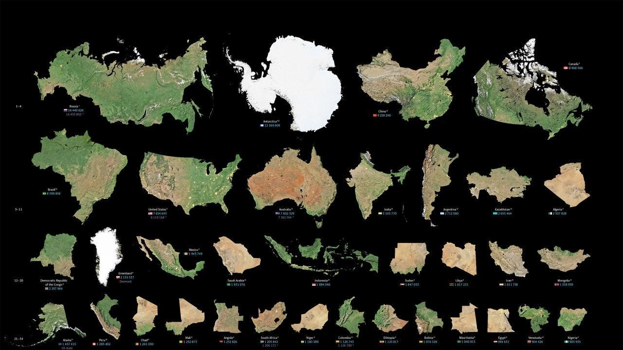 Continentes, países y regiones divididas de mayor a menor tamaño
