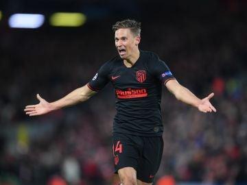 Marcos Llorente celebra un gol