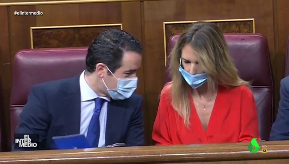 Vídeo manipulado - García Egea descubre que Cayetana Álvarez de Toledo tiene fiebre en el Congreso