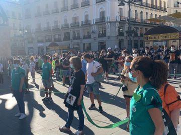 Manifestación de los sanitarios ante la Puerta del Sol