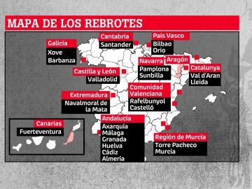 Mapa de rebrotes de coronavirus en España