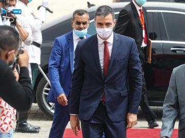 Sánchez, a su llegada a la cumbre del Sahel