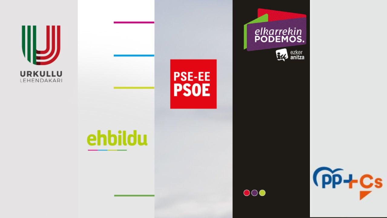 Estas son las propuestas de PNV, EH Bidu, Elkarrekin Podemos-IU, PSE-EE y PP+Cs para las elecciones del 12J en País Vasco