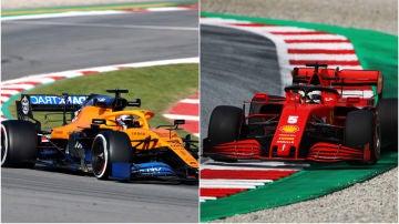 El McLaren de Carlos Sainz y el Ferrari de Sebastian Vettel