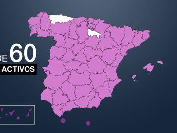 Mapa de los brotes en España