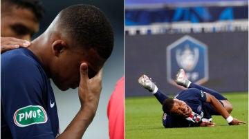 Kylian Mbappé se retiró del verde entre lágrimas tras una dura entrada