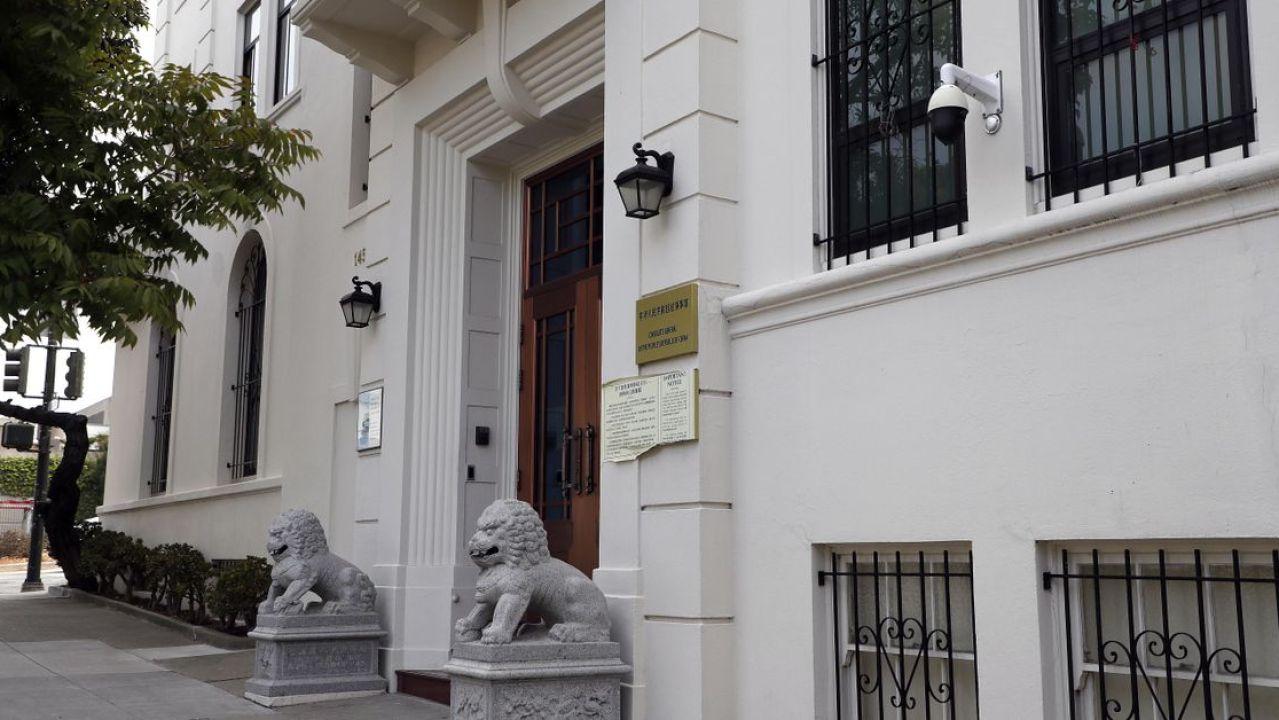 Vista exterior del consulado chino en San Francisco, California