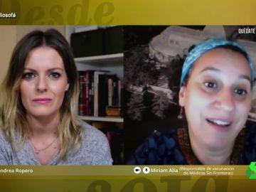 Andrea Ropero entrevista en El Intermedio a Miriam Alía, responsable de vacunación de Médicos sin Fronteras